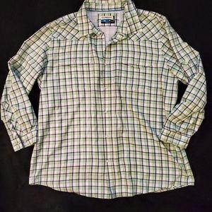 Magellan outdoor Fish Gear green plaid shirt